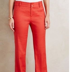 Elevenses   NEW Anthro Red Linen Trousers